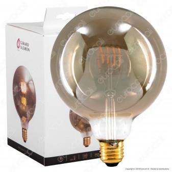 Girard Sudron Lampadina E27 Filamento LED a Spirale 4W Globo G125 con Vetro Ambrato Oscurato Dimmerabile - mod. 716689