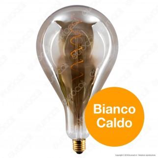 Girard Sudron Lampadina E27 Filamento LED a Spirale 6W Bulb A 162 con Vetro Ambrato Oscurato Dimmerabile - mod. 716698