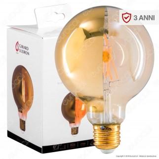 Girard Sudron Lampadina E27 Filamenti LED 8W Globo G95 con Calotta Dorata Dimmerabile - mod. 15660