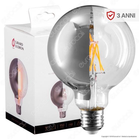 Girard Sudron Lampadina E27 Filamenti LED 8W Globo G95 con Calotta Cromata Dimmerabile - mod. 15661