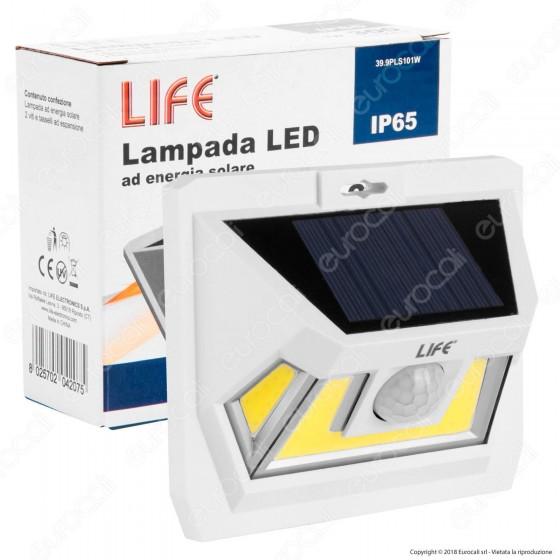 Life Lampada LED da Muro 7W con Pannello Solare e Sensore di Movimento Colore Bianco - mod. 39.9PLS101W