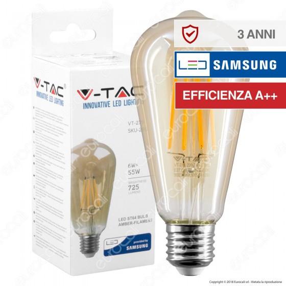 V-Tac VT-276 Lampadina LED E27 6W Bulb ST64 Filamento - SKU 290