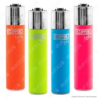 Clipper Large Fantasia Soft Touch Fluo - 4 Accendini