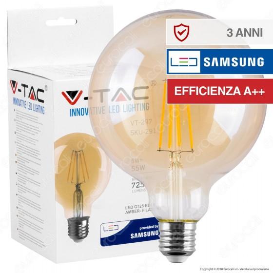 V-Tac PRO VT-297 Lampadina LED E27 6W Globo G125 Chip Samsung Ambrata - SKU 291