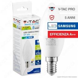 V-Tac PRO VT-255 Lampadina LED E14 4,5W Candela Chip Samsung - SKU 258 / 259 / 260