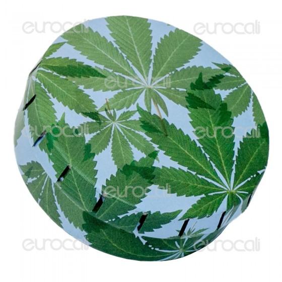Black Leaf Scatolina in Metallo Portatutto con Apertura a Click - Fantasia Green Leaves