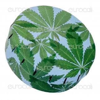 Black Leaf Scatolina in Metallo Portatutto con Apertura a Click - Fantasia Foglie di Canapa
