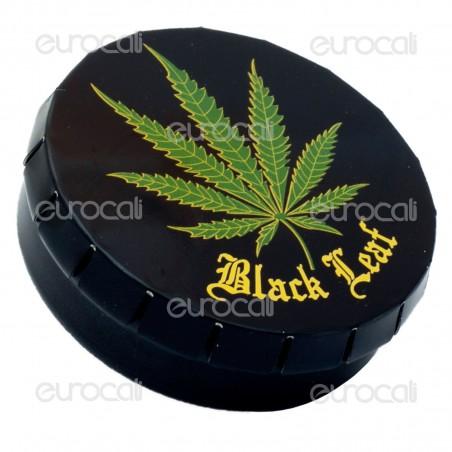 Black Leaf Scatolina in Metallo Portatutto con Apertura a Click - Fantasia Foglia di Canapa