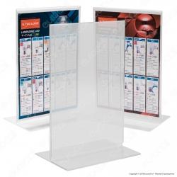 Display Bifacciale da Banco in Plexiglass per Flyer Formato A4 - Made in Italy