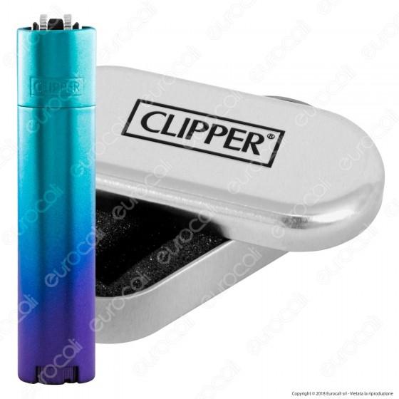 Clipper Metal Large in Metallo Blu Gradient - 1 Accendino