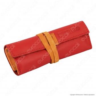 Il Morello Large Portatabacco in Vera Pelle Rossa e Arancione con Laccio Chiusura Arancione