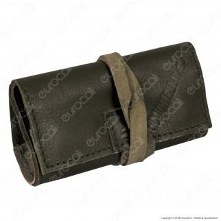 Il Morello Pocket Mini Portatabacco in Vera Pelle Colore Verde Scuro e Mimetico