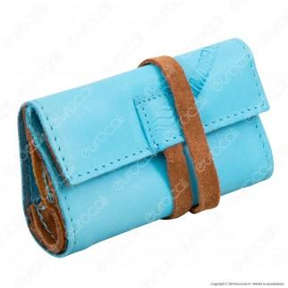 Il Morello Pocket Mini Portatabacco in Vera Pelle Colore Azzurro e Marrone
