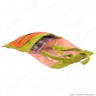 Il Morello Pocket Mini Portatabacco in Vera Pelle Colore Arancione e Verde