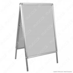Cavalletto in Alluminio Anodizzato con Cornice Tecno-Scatto Bifacciale per Poster con Formato 70x100cm - Made in Italy
