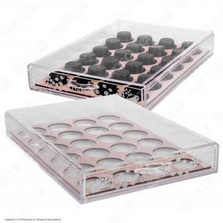 Cassetto Porta Capsule in Plexiglass Trasparente con Incisioni Laser per Capsule Lavazza A Modo Mio - Made in Italy