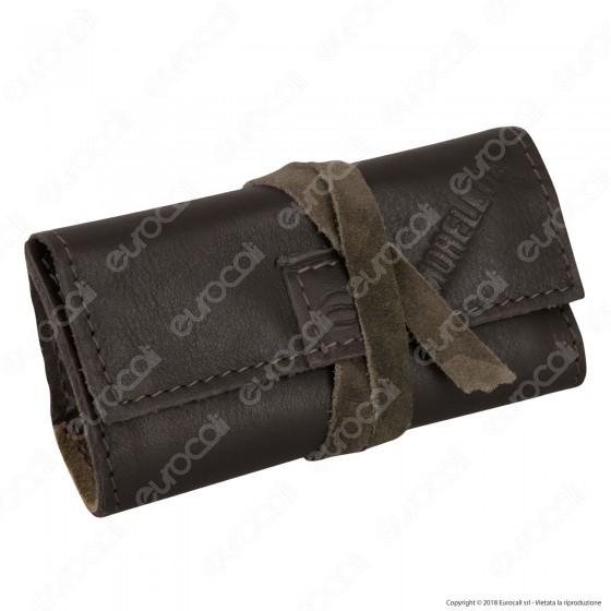 Il Morello Pocket Mini Portatabacco in Vera Pelle Marrone e Pelle Scamosciata Mimetica 3