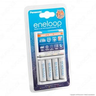 Panasonic Eneloop Caricabatterie Rapido BQ-CC16 + 4 Pile Stilo AA 1900 mAh