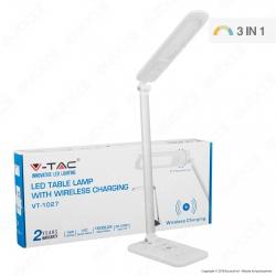 V-Tac VT-1027 Lampada da Tavolo LED 16W Multifunzione con Stazione di Ricarica Wireless - SKU 8519