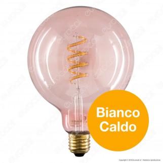 Segula Lampadina E27 Filamento LED a Spirale 8W Globo G125 con Vetro Rosa Dimmerabile - mod. 50505