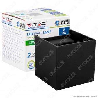 V-Tac VT-759-12 Lampada da Muro Wall Light Nera con Doppio LED COB 12W - SKU 8529 / 8530