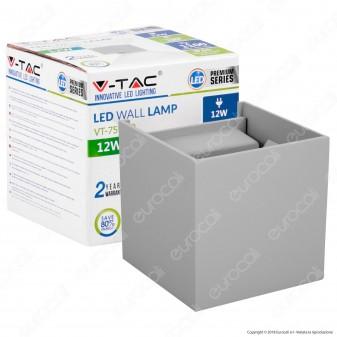 V-Tac VT-759-12 Lampada da Muro Wall Light Grigia con Doppio LED COB 12W - SKU 8531 / 8532