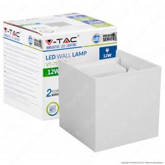 V-Tac VT-759-12 Lampada da Muro Wall Light Bianca con Doppio LED COB 12W - SKU 8527 / 8528
