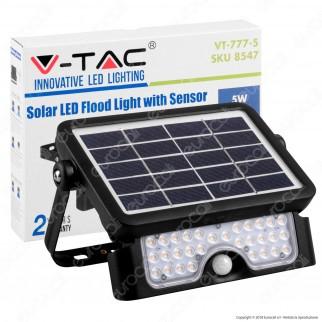 V-Tac VT-777-5 Lampada da Muro LED 5W con Pannello Solare e Sensore Colore Nero - SKU 8547