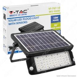 V-Tac VT-787-10 Lampada da Muro LED 10W con Pannello Solare e Sensore Colore Nero - SKU 8550