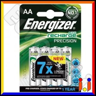 Energizer Accu Recharge Precision 2400mAh Pile Ricaricabili Stilo AA - Blister 4 Batterie