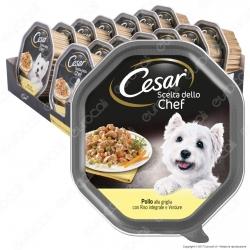 Cesar Scelta dello Chef Cibo per Cani con Pollo alla Griglia, Riso Integrale e Verdure - 14 Vaschette da 150g