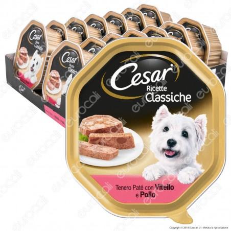Cesar Ricette Classiche Cibo per Cani con Vitello e Pollo - 14 Vaschette da 150g