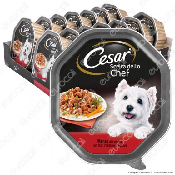 Cesar Scelta dello Chef per Cani con Manzo alla Griglia, Riso Integrale e Verdure - 14 Vaschette da 150g