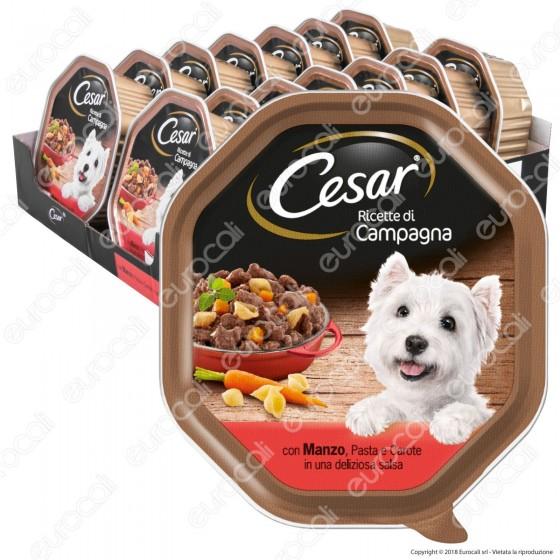 Cesar Ricette di Campagna per Cani con Manzo, Pasta e Carote in Salsa - 14 Vaschette da 150g