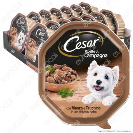Cesar Ricette di Campagna Cibo per Cani con Manzo e Tacchino in Salsa - 14 Vaschette da 150g