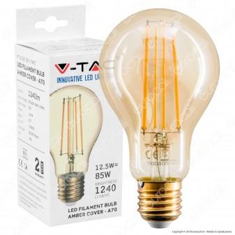 V-Tac VT-2123 Lampadina LED E27 12,5W Bulb A70 Filamento Ambrata - SKU 7457