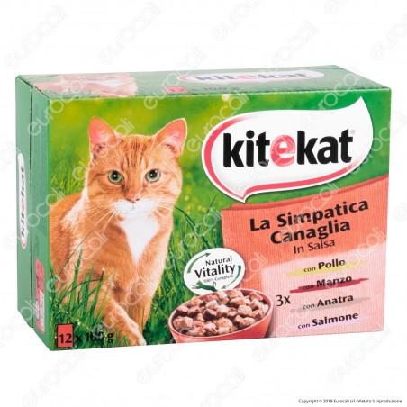Kitekat La Simpatica Canaglia Cibo per Gatti con Pollo, Manzo, Anatra e Salmone - 12 Bustine da 100g