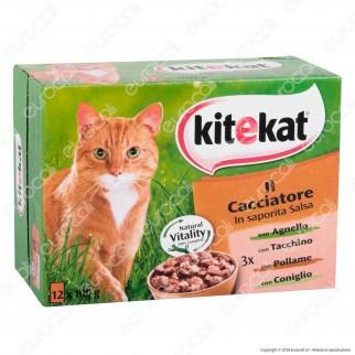 Kitekat Il Cacciatore Cibo per Gatti con Agnello, Tacchino, Carni Bianche e Coniglio - 12 Bustine da 100g