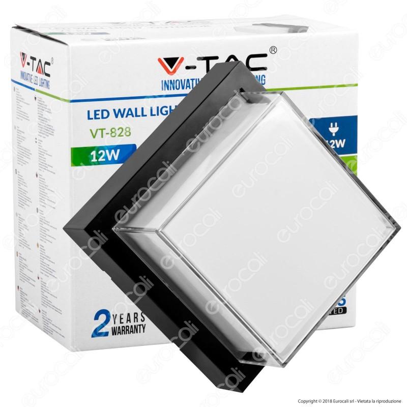 V-Tac VT-828 Lampada LED da Muro 12W Wall Light Colore Nero Forma Quadrata - SKU 8543 / 8544