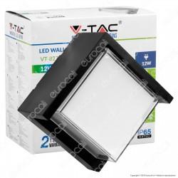 V-Tac VT-827 Lampada LED da Muro 12W Wall Light Colore Nero Forma Quadrata - SKU 8539 / 8540