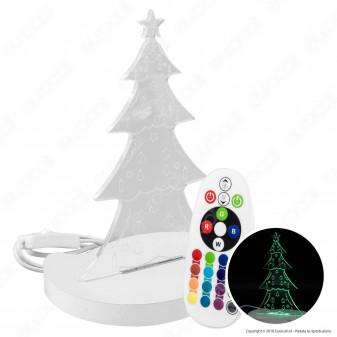 Lampada con Illuminazione LED RGB e Telecomando con Forma Albero di Natale in Legno e Plexiglass - Made in Italy