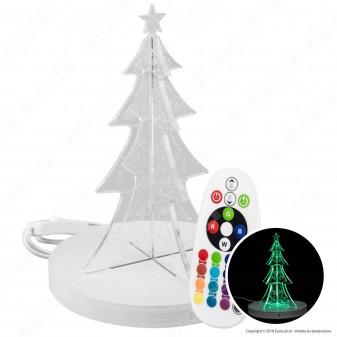 Lampada con Illuminazione LED RGB e Telecomando con Forma Albero di Natale 3D in Plexiglass - Made in Italy