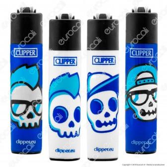 Clipper Micro Fantasia Blue Skulls - 4 Accendini