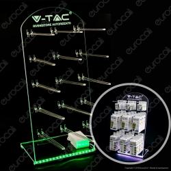 Espositore da Banco in Plexiglass con Illuminazione LED RGB e Telecomando con 15 Ganci per Lampadine - Made in Italy