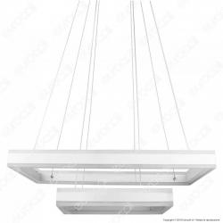 V-TAC VT-101-2 Lampadario LED Anello Doppio 100W Sospensione in Metallo Bianco - SKU 3986