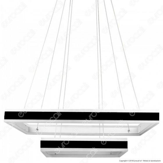 V-TAC VT-101-2 Lampadario LED Anello Doppio 100W Sospensione in Metallo Nero - SKU 3987