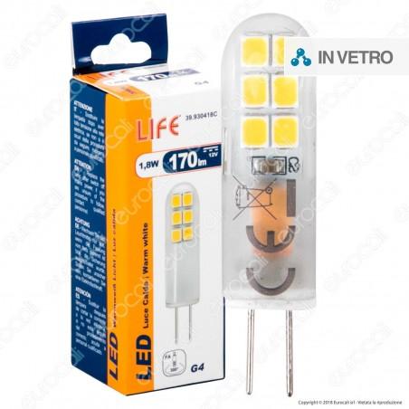 Life Lampadina LED G4 1,8W Bulb in Vetro - mod. 39.930418C / 39.930418F