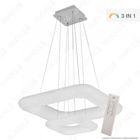 V-Tac VT-7608 Lampadario LED Anello Doppio 68W Sospensione Forma Quadrata con Telecomando - SKU 3965