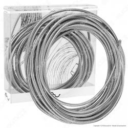 FAI Cavo di Collegamento Elettrico in Corda per Lampade di Design Colore Acciaio