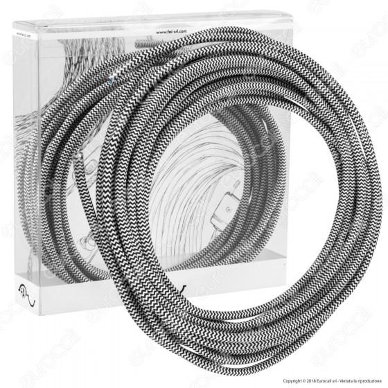 FAI Cavo di Collegamento Elettrico in Corda per Lampade di Design Colore Bianco e Nero
